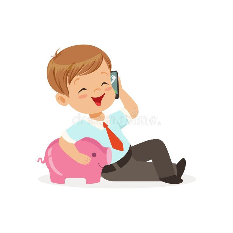 Leuk weinig jongenszakenman die op smartphone spreken en zijn spaarvarken, jonge geitjesbesparingen en financiënvector koesteren royalty-vrije illustratie