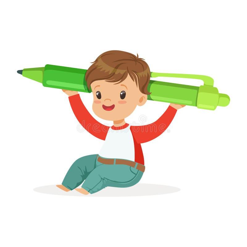 Leuk weinig jongenszitting op de vloer en holdings reuze groene vectorillustratie van het penbeeldverhaal stock illustratie