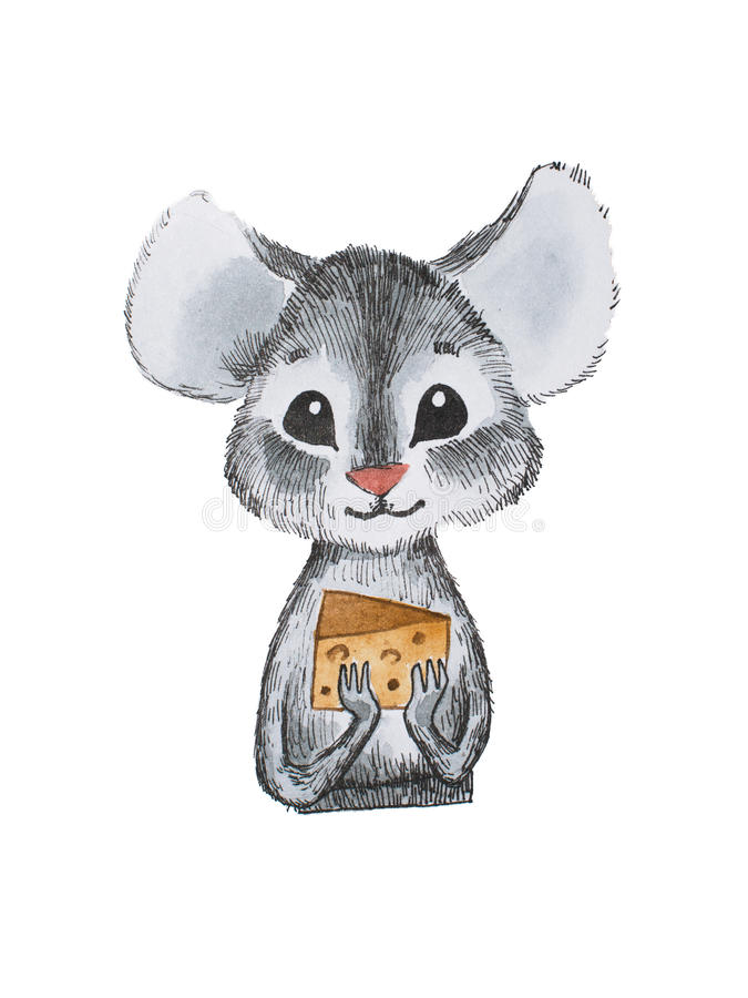 Leuk weinig kaas van de muisholding met beide hand-drawn handen vector illustratie