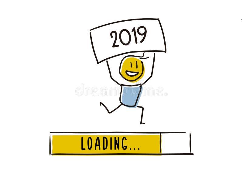 Leuk weinig karakter die gelukkig het nieuwe jaar naderbij komen aankondigen Het houden van een raad van 2019 boven zijn hoofd Ve stock illustratie