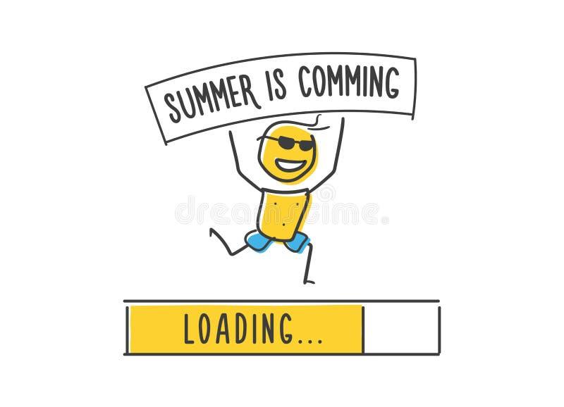 Leuk weinig karakter in zonnebril die gelukkig aankondigen dat de zomer komt Vectorillustratie met karakter, aankondiging vector illustratie