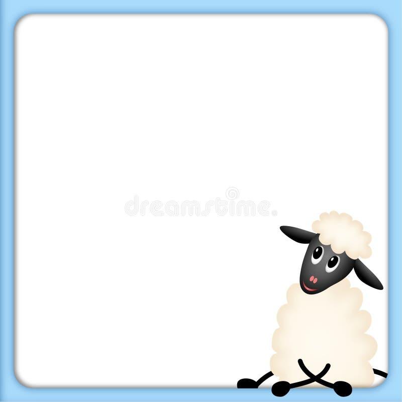 Leuk weinig lam in blauw frame met wit stock illustratie
