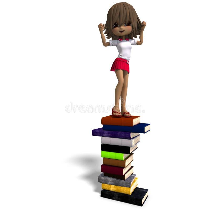 Leuk weinig meisje van de beeldverhaalschool met vele boeken. stock illustratie