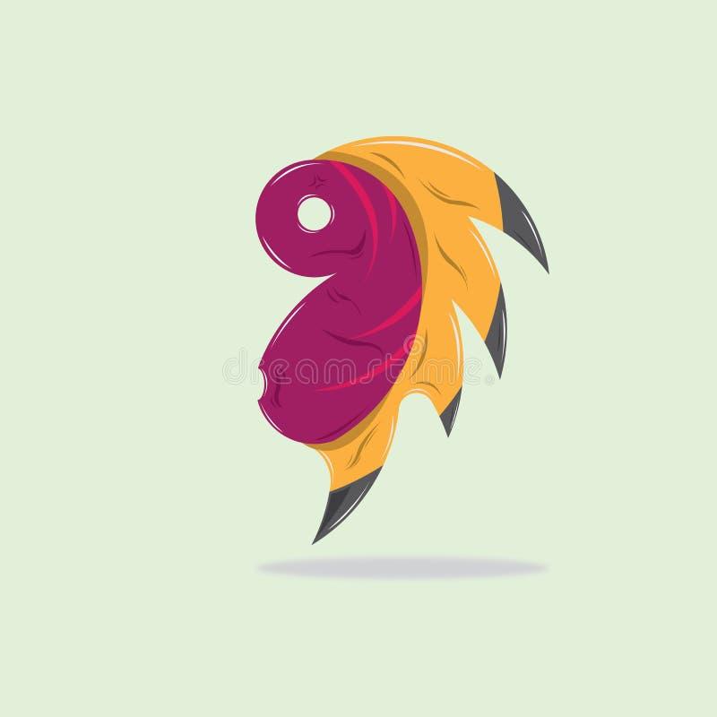 Leuk Weinig Monstermascotte met Stammentatto royalty-vrije illustratie