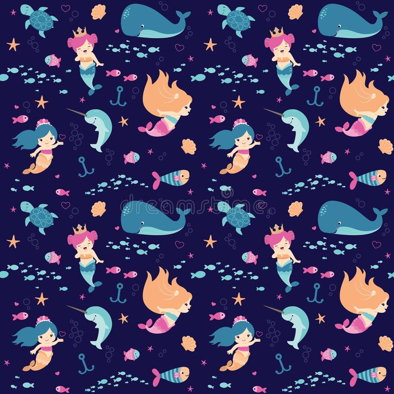 Leuk Weinig Naadloze het Patroon Vlakke Vectorillustratie van Fantasie Onderwatermeerminnen royalty-vrije illustratie