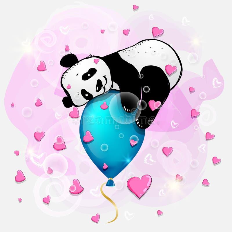 Leuk weinig panda op blauwe luchtballon, de illustratie van de verjaardagskaart, leuke dieren royalty-vrije illustratie