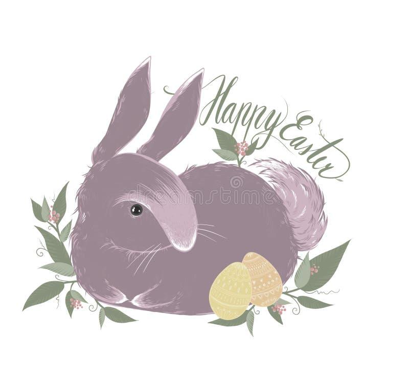 Leuk weinig Pasen-konijn met eieren stock illustratie