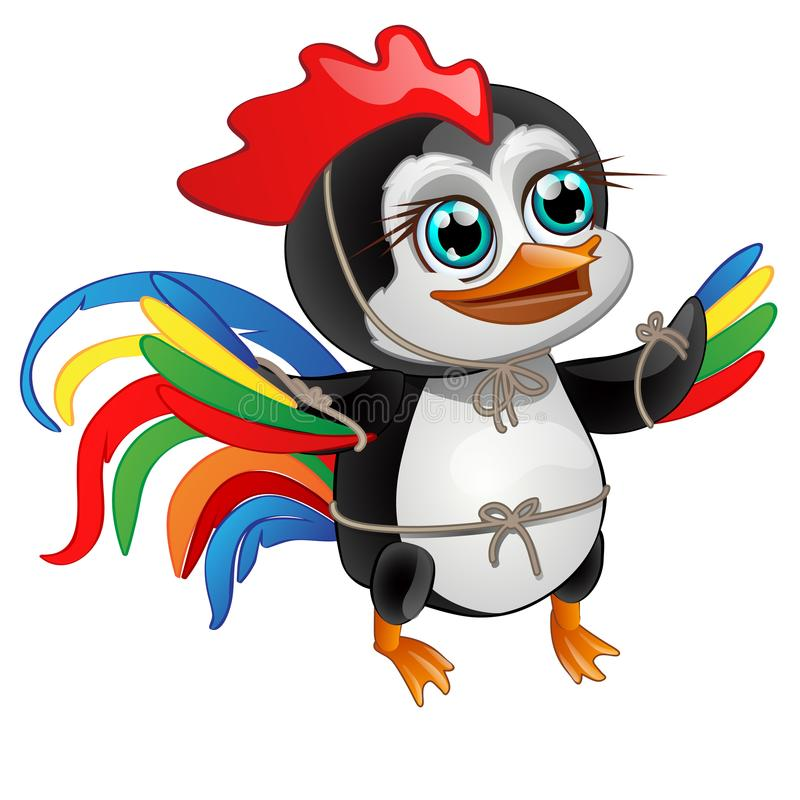 Leuk weinig pinguïn met heldere die veren van een haan op een witte achtergrond wordt geïsoleerd Vector illustratie stock illustratie