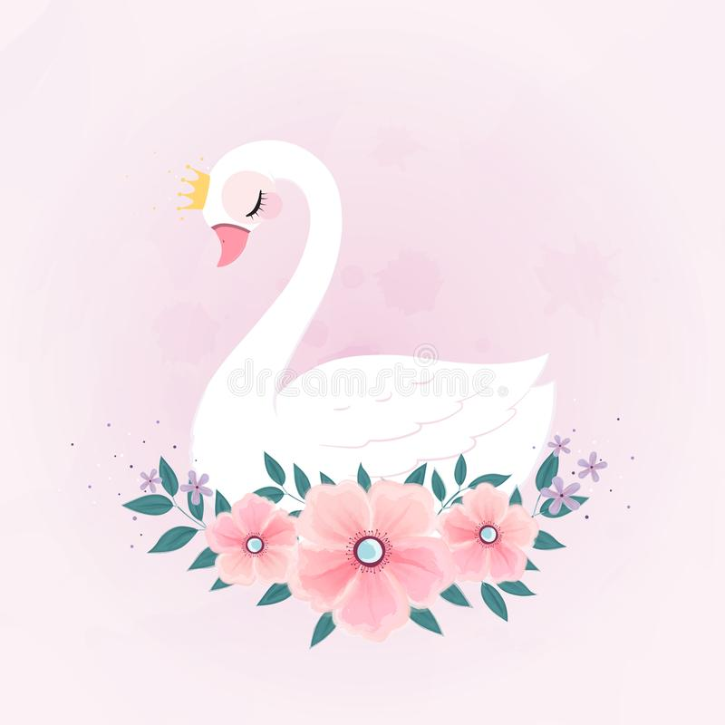 Leuk Weinig Prinses Swan met Bloemboeket stock illustratie