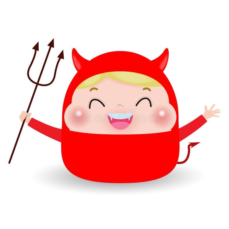 Leuk weinig Rood Duivelsdemon jongensjong geitje in Halloween-kostuum op witte achtergrond wordt geïsoleerd die Halloween-de Part stock illustratie
