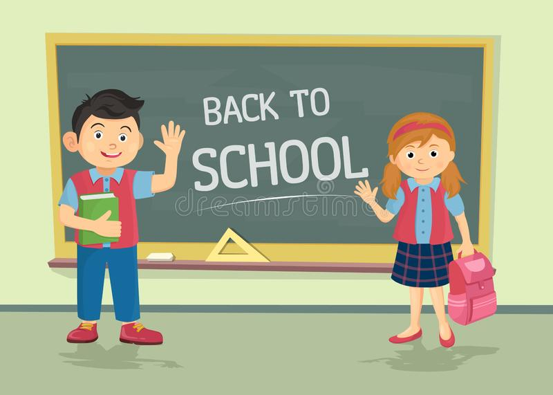 Leuk weinig schoolmeisje en schooljongen dragen eenvormig met rugzakken die zich dichtbij bord met geïsoleerde exemplaarruimte be vector illustratie