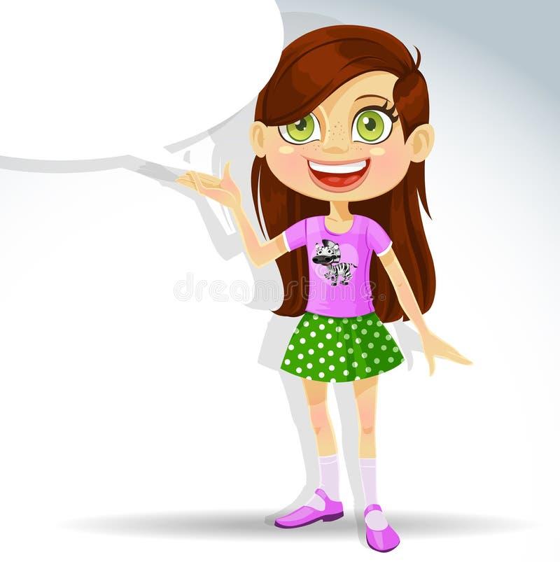 Leuk weinig schoolmeisje met toespraakbel voor tekst stock illustratie