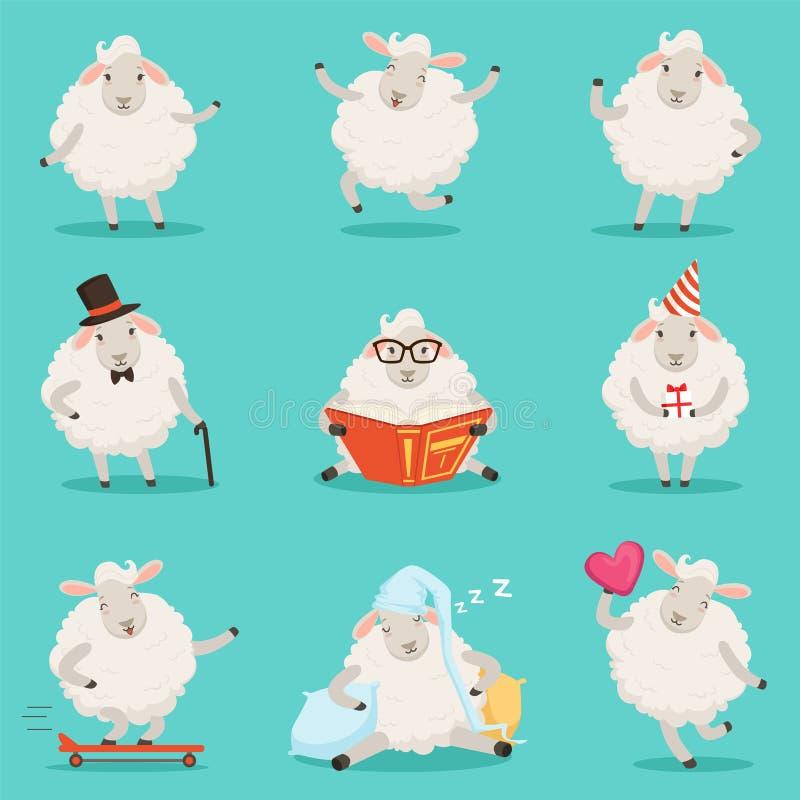 Leuk weinig set van tekens van het schapenbeeldverhaal voor etiketontwerp Kleurrijke gedetailleerde vectorillustraties op wit royalty-vrije illustratie