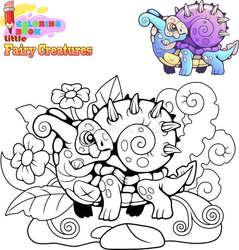 Leuk weinig slakdraak, kleurend boek, grappige illustratie stock illustratie