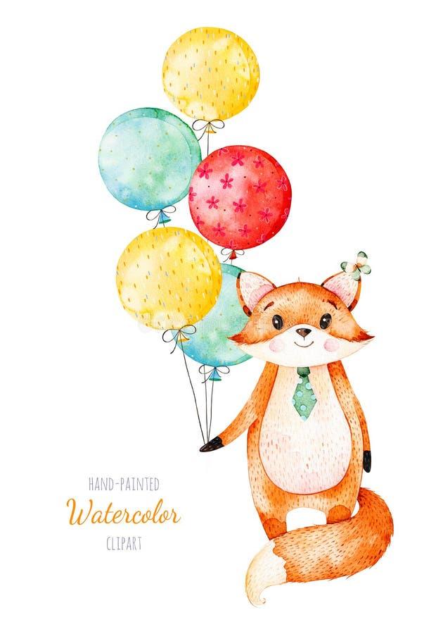 Leuk weinig Vos met multicolored ballons stock illustratie