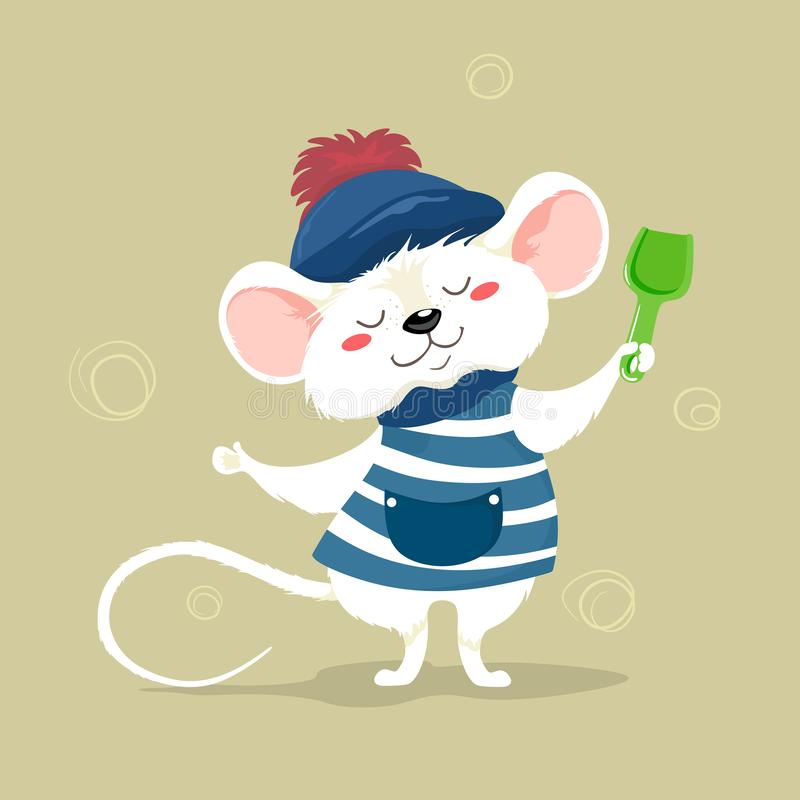 Leuk weinig zeeman in een gestreepte vest en een hoed Vectorkarakter in beeldverhaalstijl De leuke Muis van het babybeeldverhaal vector illustratie