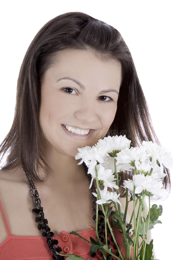 Leuk wijfje in rode kleding met bloemen royalty-vrije stock afbeelding