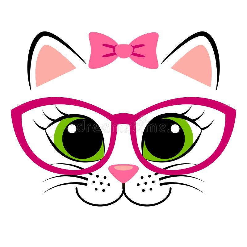 Leuk wit katje met roze boog en glazen Meisjesachtige druk met pot voor t-shirt vector illustratie