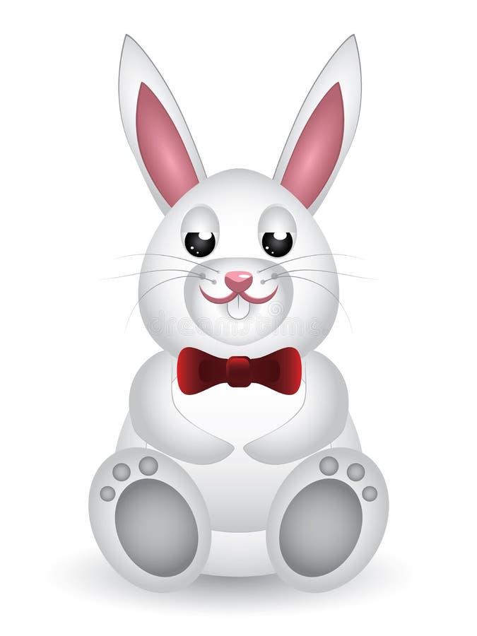 Leuk wit konijntje met boog royalty-vrije illustratie