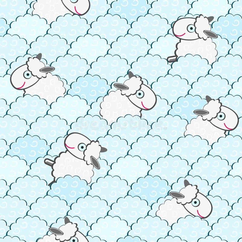 Leuk Wit Naadloos Patroon Sheeps stock illustratie
