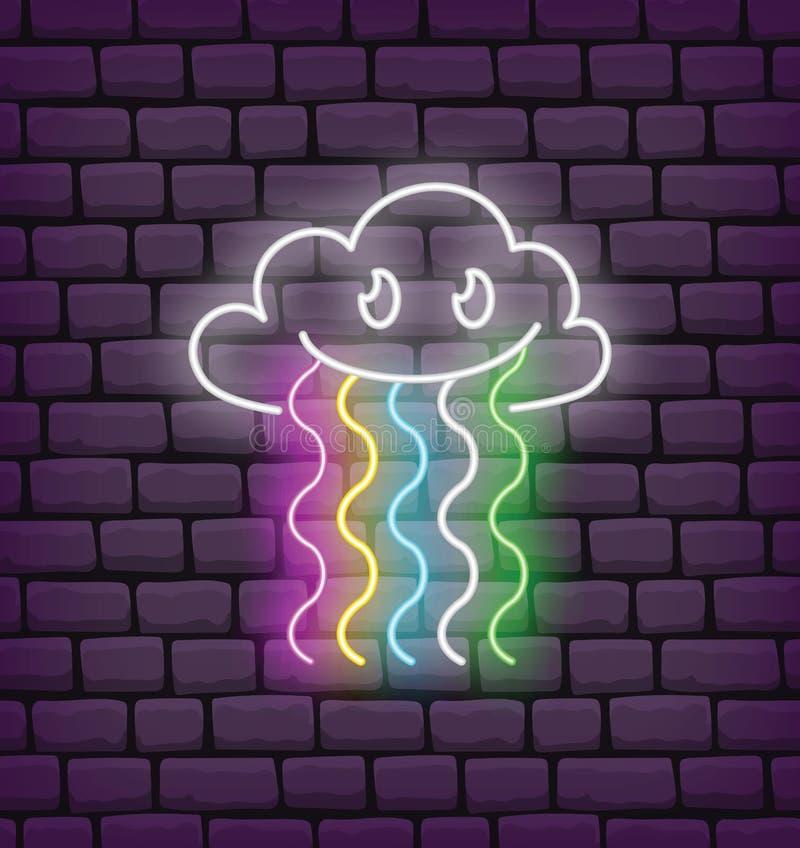 Leuk wolk en regenboogkawaiineon vector illustratie
