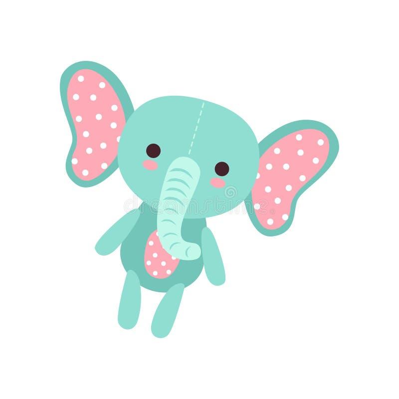 Leuk zacht de pluchestuk speelgoed van de babyolifant, gevulde beeldverhaal dierlijke vectorillustratie royalty-vrije illustratie