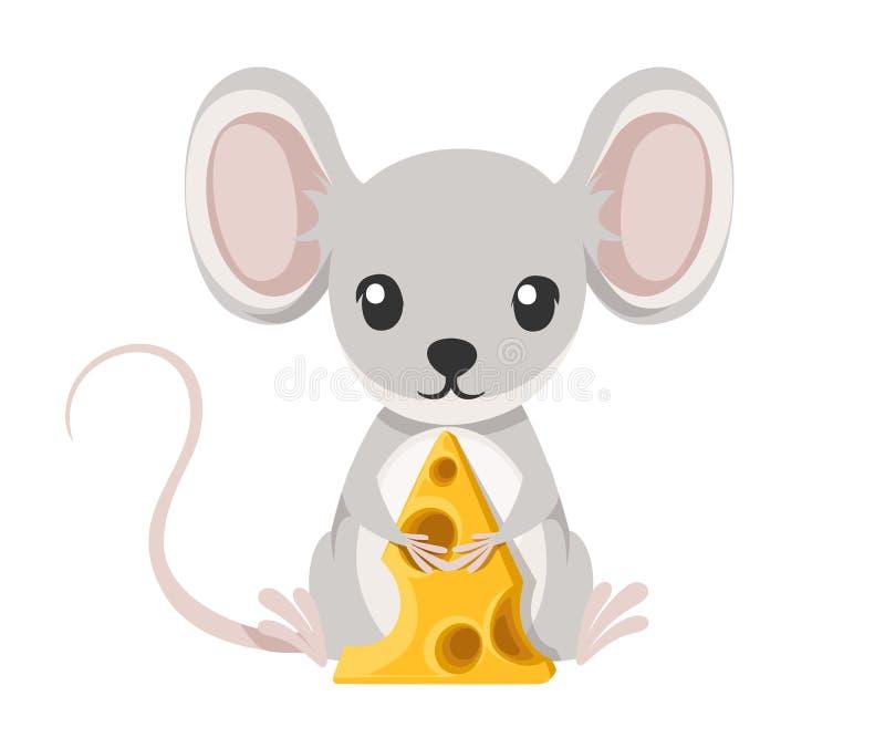 Leuk zit weinig grijze muis op vloer en greepkaas Ontwerp van het beeldverhaal het dierlijke karakter Vlakke die Illustratie op w stock illustratie