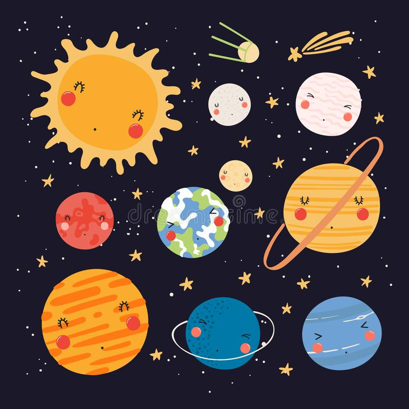 Leuk zonnestelsel stock illustratie