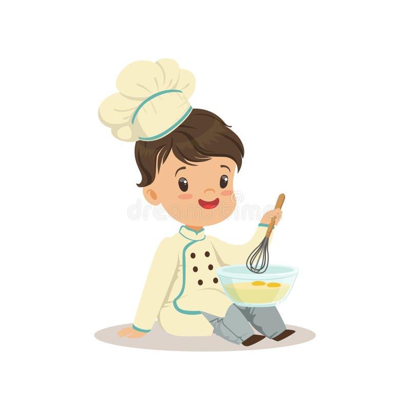Leuk zwaait weinig jongenschef-kok met het mengen van kom en vectorillustratie stock illustratie