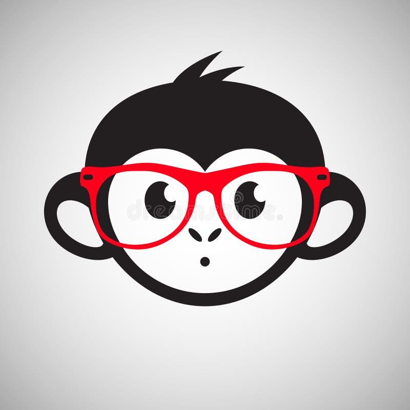Leuke aap in glazen, vector vector illustratie