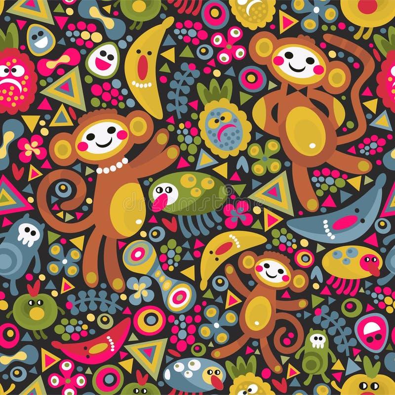 Leuke aap naadloze textuur Kleurrijke vector stock illustratie
