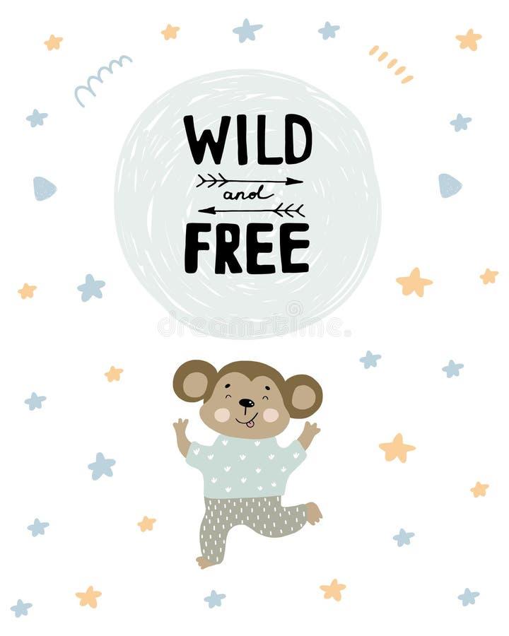 Leuke aap in pyjama's dansende illustratie met tekst Wild en vrij op hand getrokken vormenachtergrond Vector vlak beeldverhaal royalty-vrije illustratie