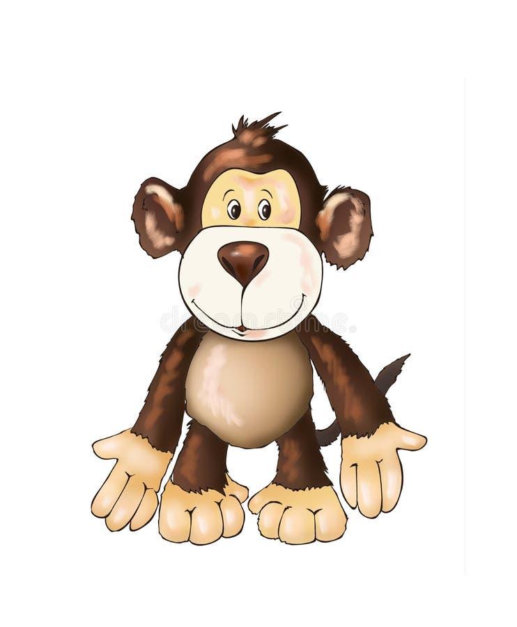 Leuke aapvriend, stuk speelgoed aap, het kleuren boekillustratie het schilderen, jonge geitjesspelen, leuke helden vector illustratie