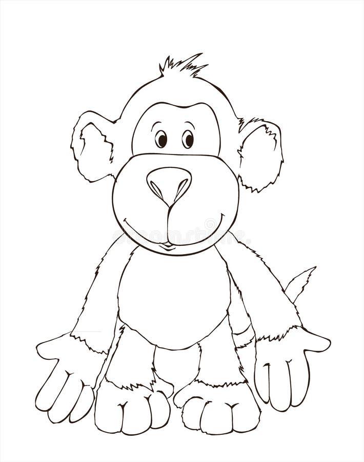 Leuke aapvriend, stuk speelgoed aap het kleuren boekillustratie het schilderen, jonge geitjesspelen, leuke helden stock illustratie