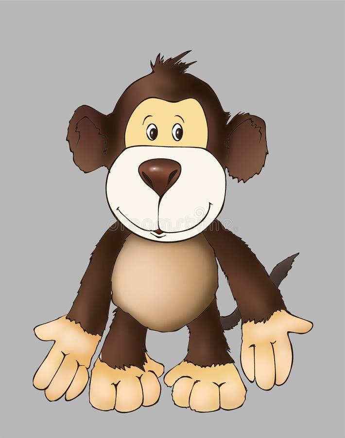 Leuke aapvriend, stuk speelgoed aap kleurend boek, illustratie, het schilderen, jonge geitjesspelen, leuke helden stock illustratie
