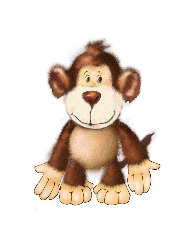 Leuke aapvriend, stuk speelgoed aap kleurend boek, illustratie, het schilderen, jonge geitjesspelen, leuke helden vector illustratie
