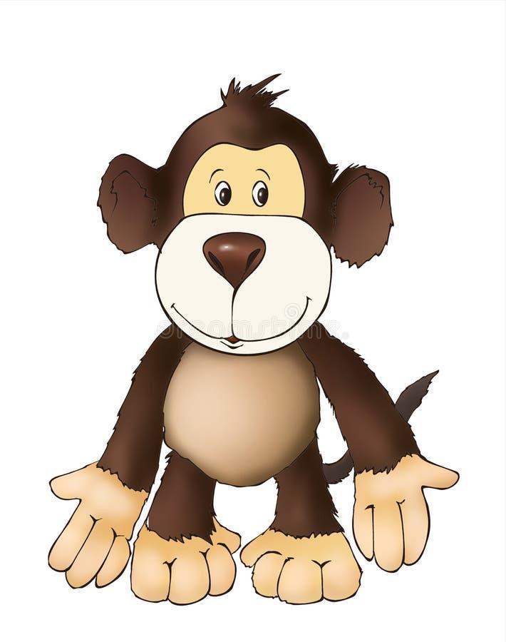 Leuke aapvriend, stuk speelgoed aap, kleurende boekillustratie, het schilderen, jonge geitjesspelen, leuke helden royalty-vrije illustratie