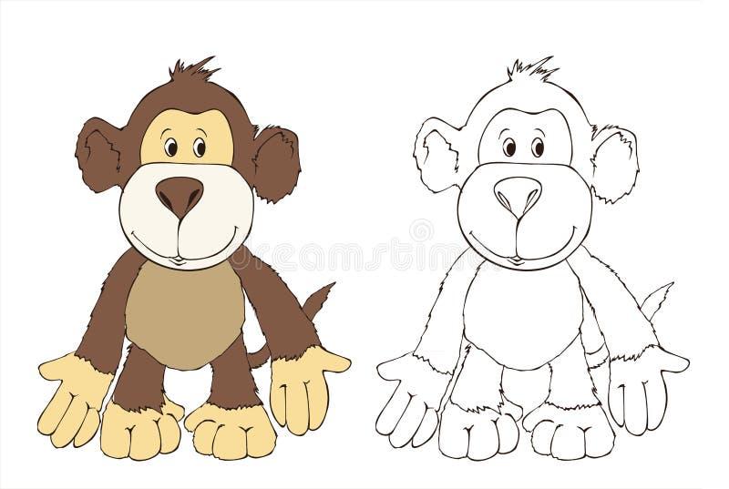 Leuke aapvriend, stuk speelgoed aap, kleurende boekillustratie, het schilderen, jonge geitjesspelen, leuke helden stock illustratie