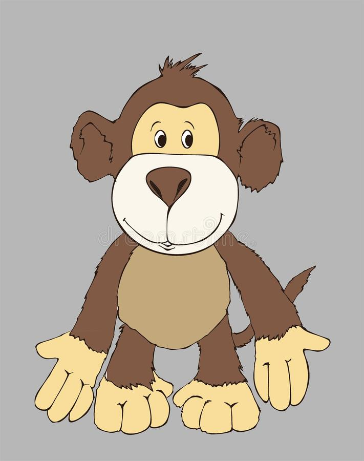 Leuke aapvriend, stuk speelgoed aap, kleurende boekillustratie, het schilderen, jonge geitjesspelen, leuke helden vector illustratie