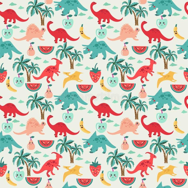Leuke achtergrond met dinosaurussen en vruchten vector illustratie