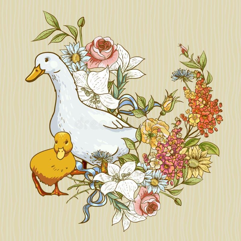 Leuke achtergrond met eenden en bloemen royalty-vrije illustratie