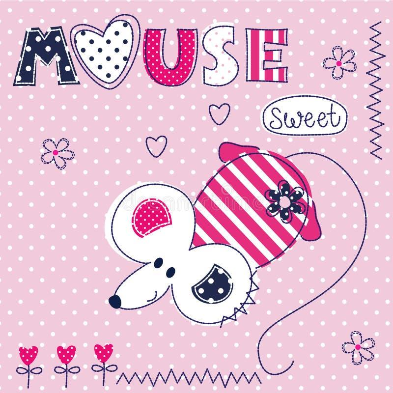 Leuke achtergrond met grappige muis stock illustratie