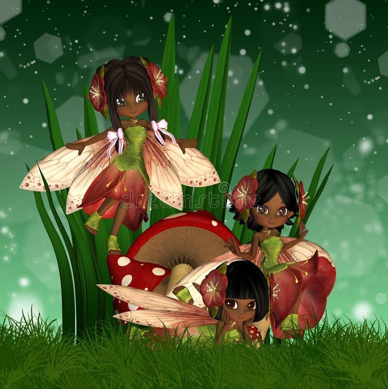 Leuke Afrikaanse Amerikaanse Feeën vector illustratie
