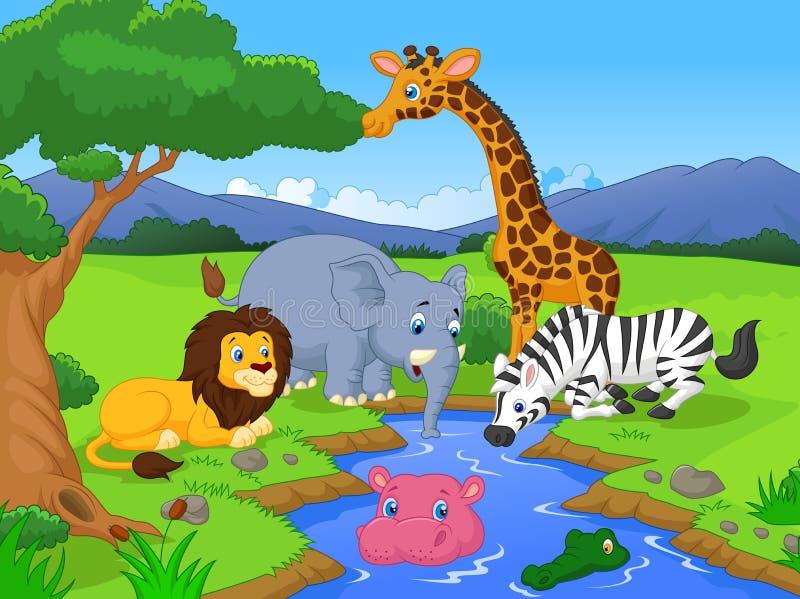 Leuke Afrikaanse de karaktersscène van het safari dierlijke beeldverhaal vector illustratie