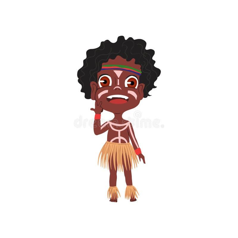 Leuke Afrikaanse stamjongen met kleurrijk ornament en mooi stock illustratie