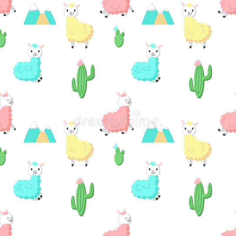 Leuke alpaca met cactus vector naadloos patroon royalty-vrije illustratie