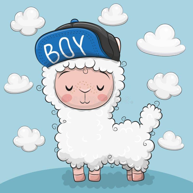 Leuke alpaca met wolken op een blauwe achtergrond stock illustratie