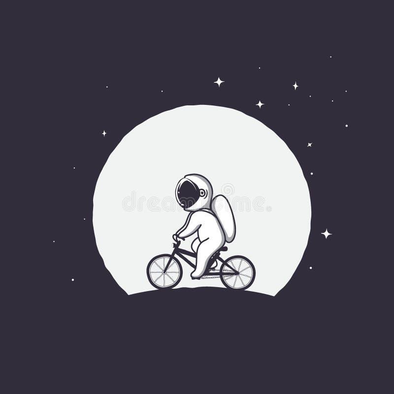 Leuke astronautenritten op fiets op Maanachtergrond vector illustratie