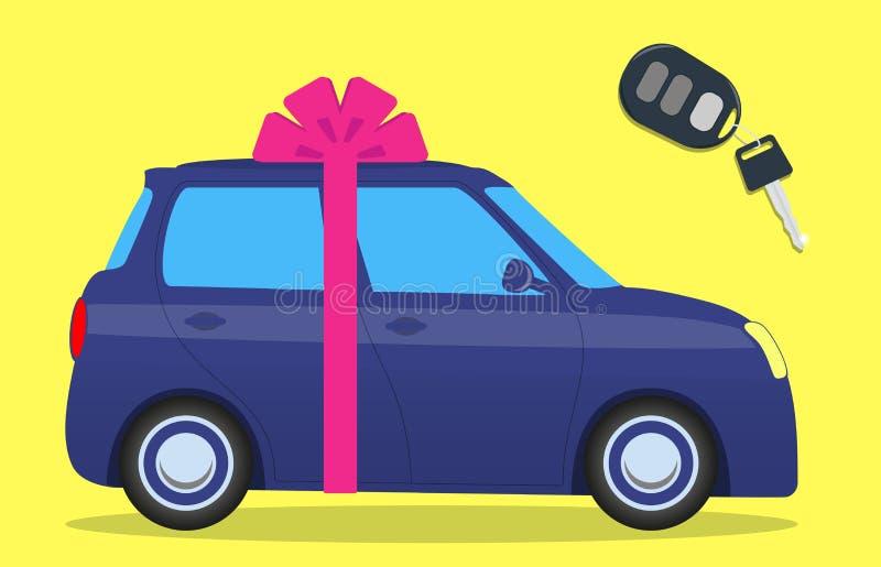 Leuke auto met een boog Sleutel met de duim Auto als gift Vector illustratie royalty-vrije illustratie