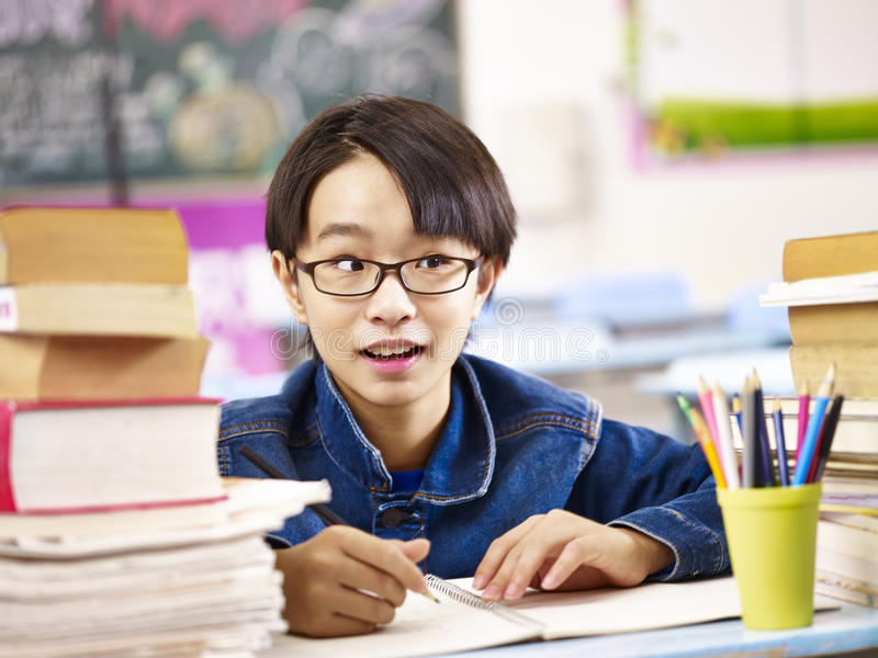 Leuke Aziatische basisschooljongen royalty-vrije stock afbeelding